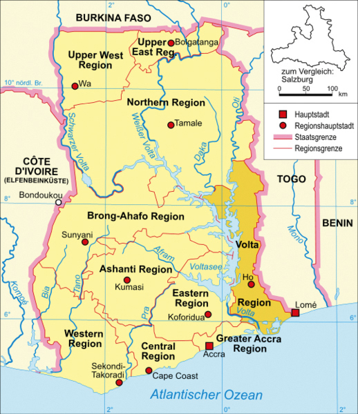 Map Of Volta Region Of Ghana Volta Region | Community Development Volta e.V.